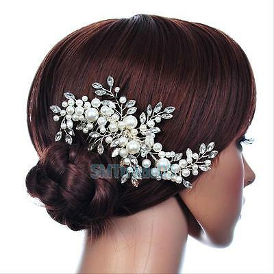 Wedding Bridal Faux Pearl Flower HairClip Comb Crystal Rhinestone Hairpin Makeup
