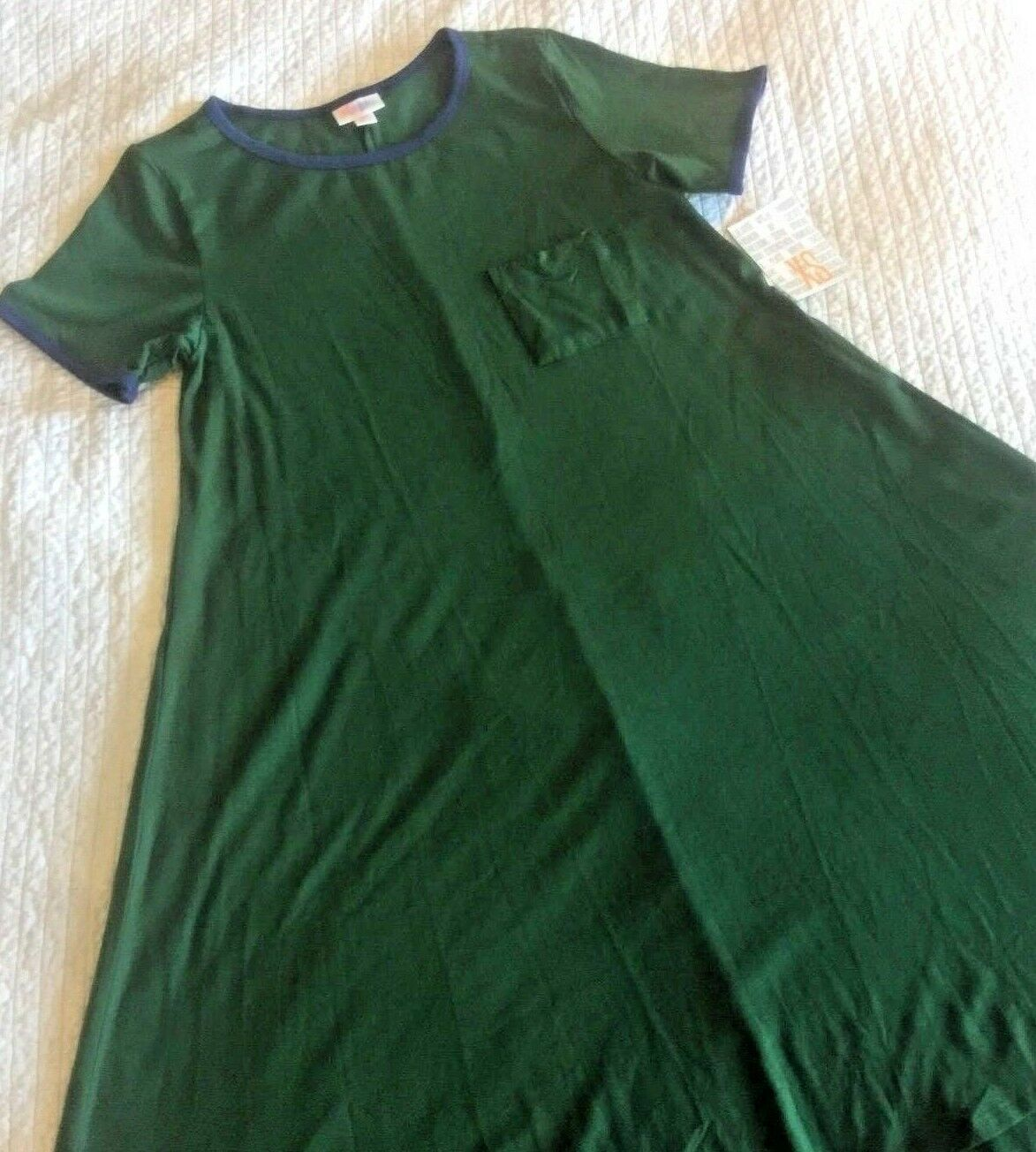 New LuLaRoe Carly Dress - Solid - Green with Navy Trim - Very Soft  Size XS