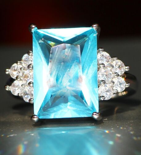 Fashion 925 Silver Filled Green Sapphire Birthstone Engagement Wedding Gift Ring