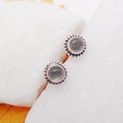 Indischer Rubin rund Nostalgie Design Ohrringe Ohrstecker 925 Sterling Silber