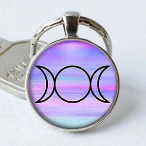 Triple moon crescent Red Photo Silver Cabochon Glass Pendant Keychain #1