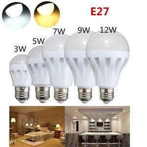 3W-5W-7W-9W-12W-E27-LED-Gluehbirne-Energiespar-Leuchtmittel-Lampe-Weiss-Warmweiss