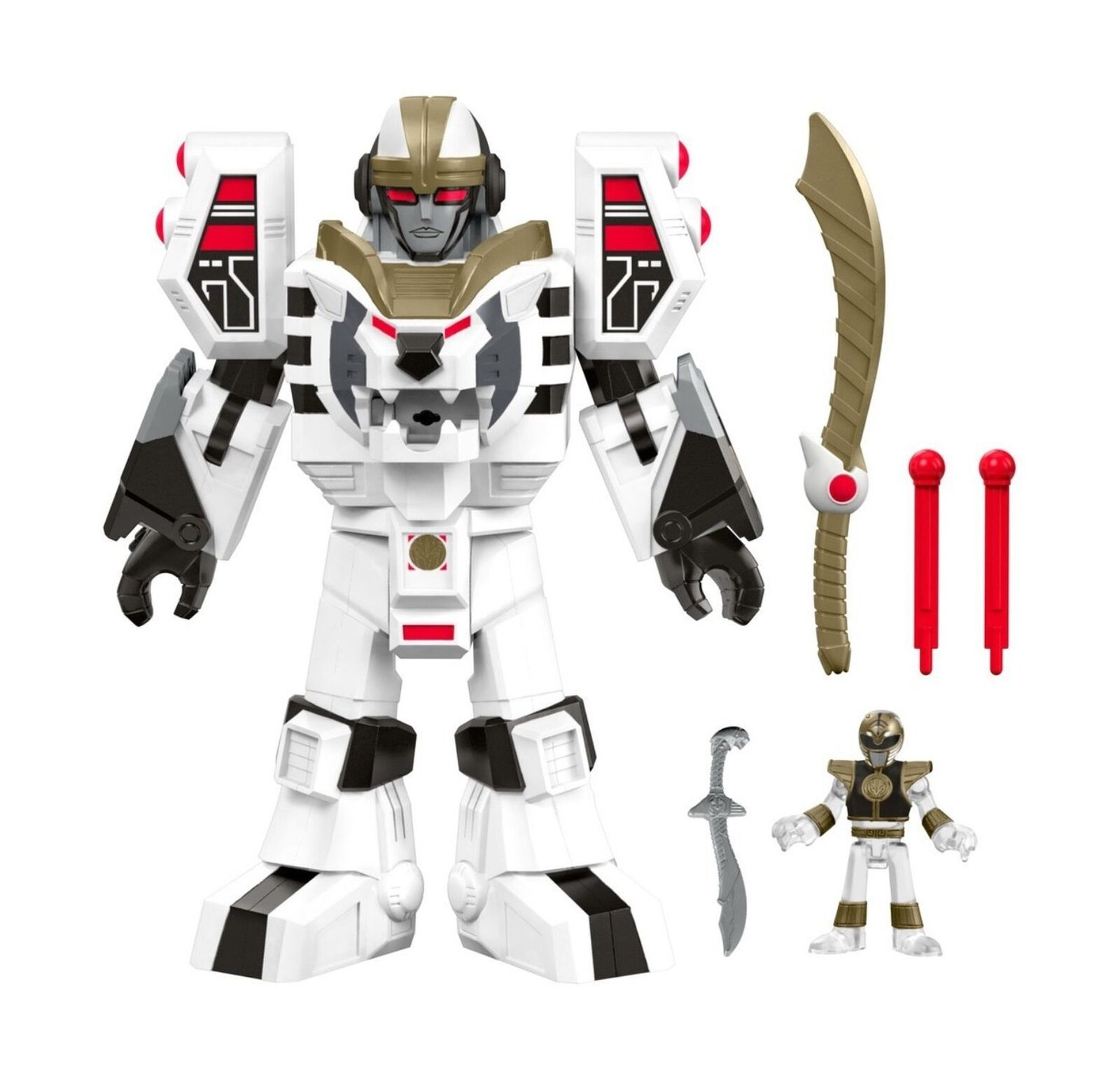Fisher-price Imaginext power rangers tigerzord blancoo modo Ranger & Guerrero