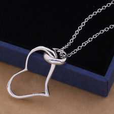 Women Fashion Jewelry 925 sterling Silver Plated Heart Pendant Chain Necklace