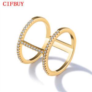 CIFBUY-H-Form-Ringe-Frauen-Gold-Farbe-Gepflasterte-Zirkonia-Vintage-Aussage-Band