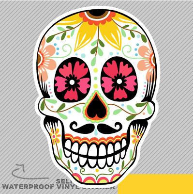 Ornamental Sugar Skull Mexico Cultu Vinyl Sticker Decal Window Car Van Bike 1992