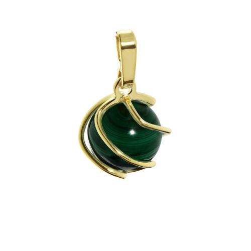 Sphere Ball Pendant 8K Yellow Gold Zirconia Malachite green 9mm Ladies 7785