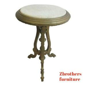 Antique-Victorian-Carved-Gold-Marble-Top-Lamp-End-table-Pedestal-Clock-Stand
