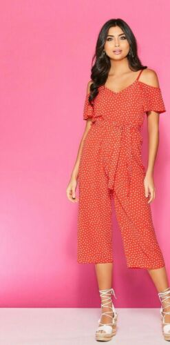 Quiz NEW red Polka Dot Frill Open Cold Shoulder Culottes Jumpsuit 6-8-10-12-14