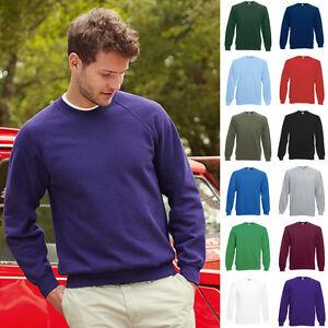 1a-Herren-Sweat-Raglan-Pullover-Pulli-Fruit-of-the-loom-Basic-Sweatshirt-80-20