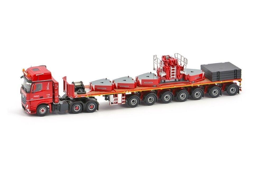 IMC31-0013 - Camion MERCEDES Actros 2 6x4 avec semi plateau 7 essieux et accesso