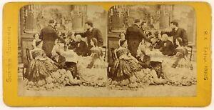 Francia Parigi Scena Da Genere A Tavola Vino Foto Stereo c1865 Albumina Vintage