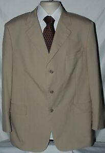 Men's Brooks Brothers Brookscool Poplin Suit Jacket Blazer Beige Khaki size 44R