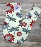 Dragonfly Floral Leggings Rare Print Soft Brushed One Size Os