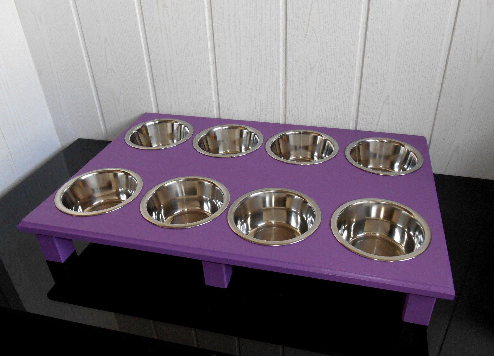 Echte Handarbeit für Ihren Hund  Welpenbar mit 8 Näpfen, lila(172)