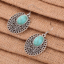 Unique Tibet Silver Flower Hollow Out Pattern Oval Turquoise Inlay Hook Earrings