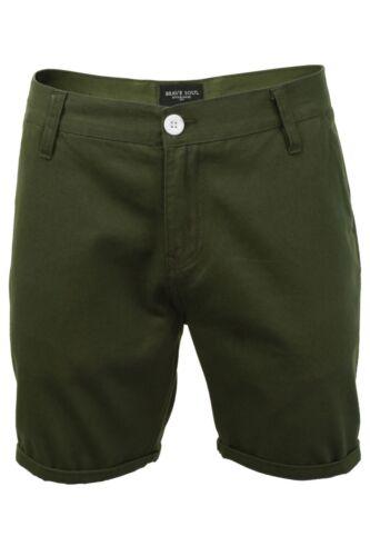 Olive Green XL Brave Soul Men/'s Chino Shorts New