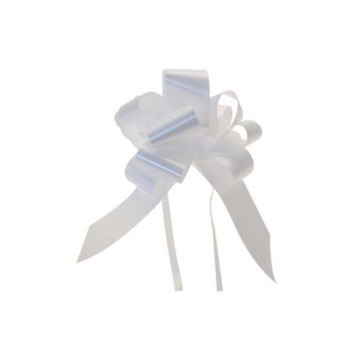 20 X PLAIN POLY SATIN PULL BOWS 50MM CHOICE OF 15 COLOURS  FLORISTRY WEDDINGS