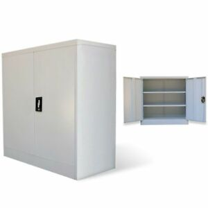 Image is loading 2-Door-Office-Cabinet-Tool-Locker-File-Storage-  sc 1 st  eBay & 2 Door Office Cabinet Tool Locker File Storage Cupboard Metal Gray ...