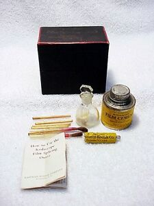 Kodascope Film Splicing Outfit   1925   IB   Cement   Flask   Sticks   Brushes