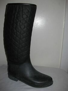 ZARA BASIC Collection Black Quilted Rain Boots shoes Size 40 / 9 ... : quilted rainboots - Adamdwight.com