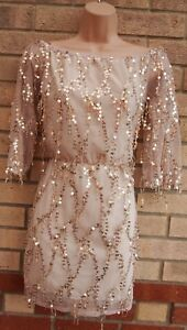 GOLD-CREAM-MESH-FRINGED-TASSEL-TASSLE-BARDOT-BODYCON-PARTY-XMAS-DRESS-8-10-S