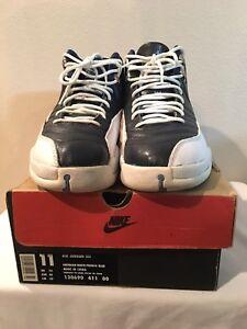 1997 Og Nike Air Jordan 12 Xii Pe Obsidian White French Blue Sz 11