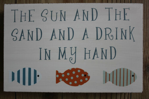SOLID WOOD BLOCK BEACH SIGN CHOICE OF 4 VERSES FREE STANDING,SHABBY CHIC