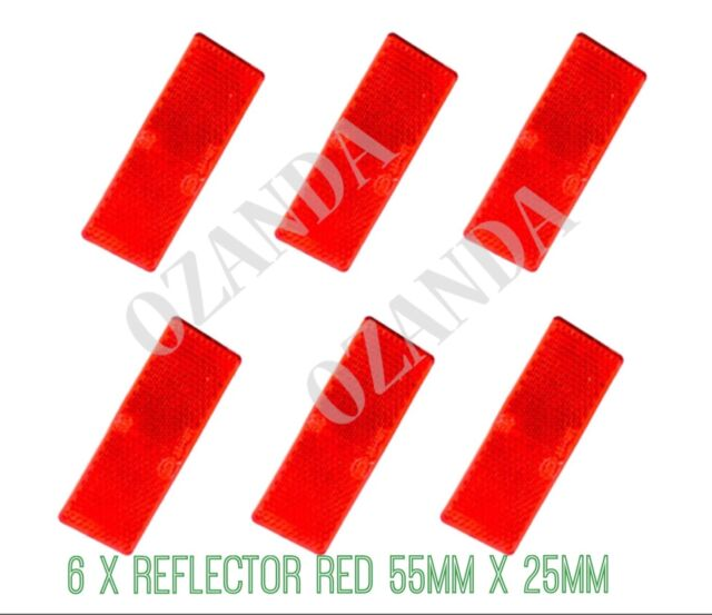 6 X RED REFLECTOR ADHESIVE 55MM X 25MM TRAILER TRUCK CARAVAN SIDE