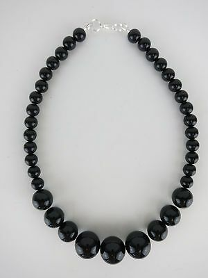 Gumball Necklace 50s Rockabilly PinUp Costume Bead Beads Chunky Noir Black