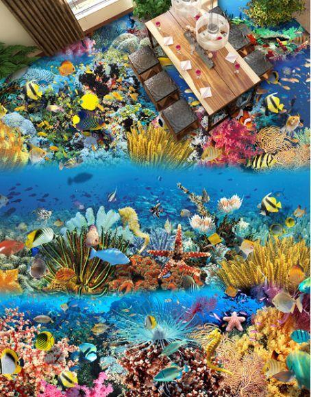 3D Wasser Fisch sea 026 Fototapeten Wandbild Fototapete Bild Tapete Famili