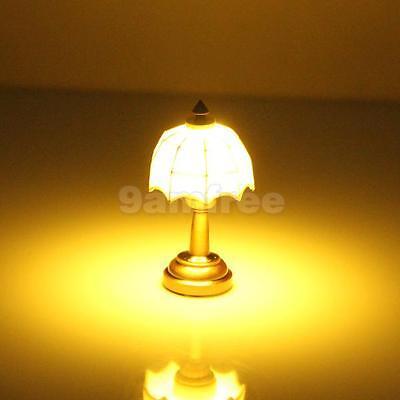 1:12 LED Battery Table Lamp Light Dolls House Miniature Lighting White Shade