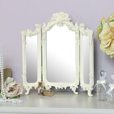 ornate cream rose triple mirror bedroom vanity dressing