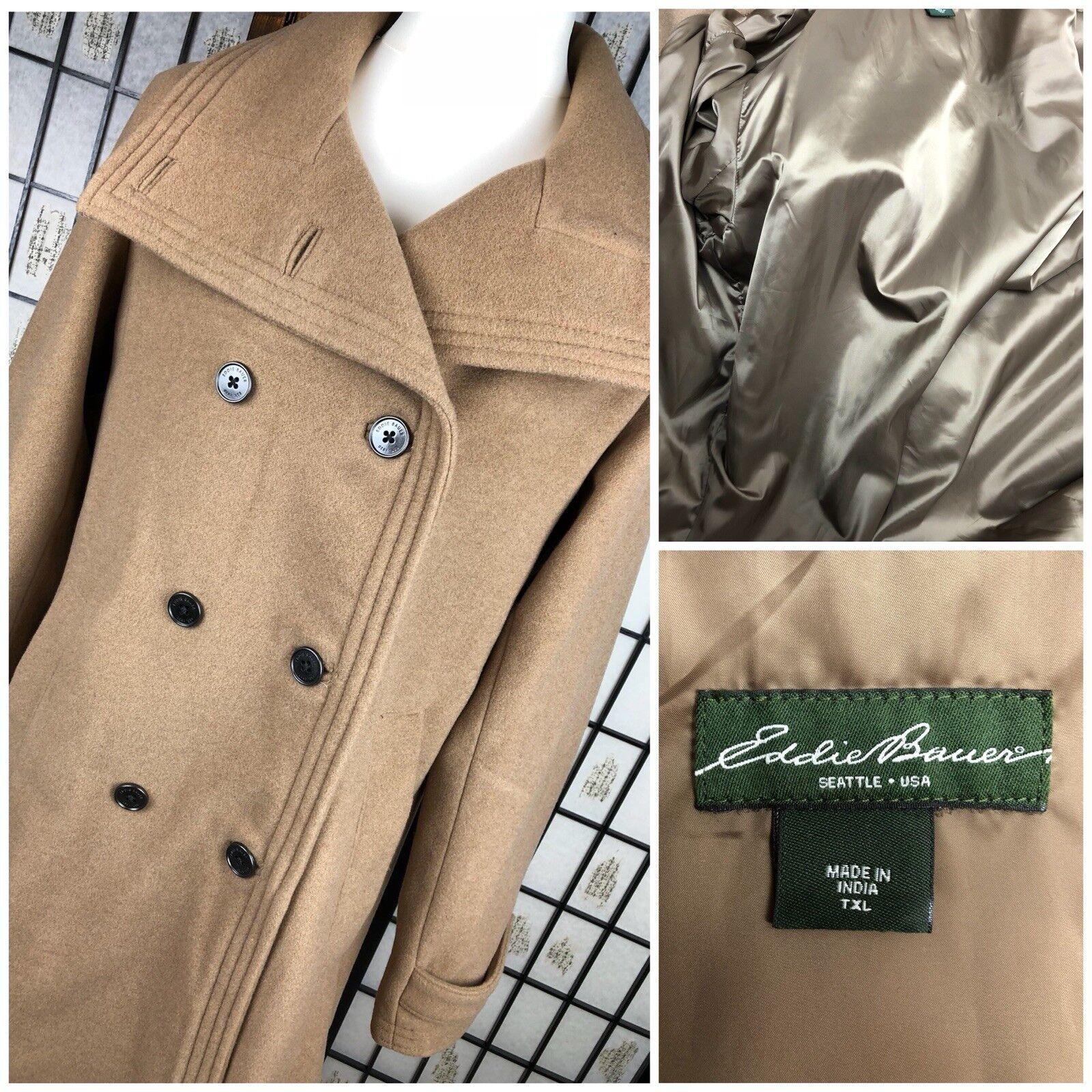 EDDIE BAUER Seattle Wool Camel Braun Coat Double Breasted Winter Warm Größe XL L