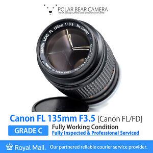 ⭐SERVICED⭐ CANON FL 135mm F3.5 Fits FD *8 BLADES* Full Frame+Caps[GRADE C, READ]
