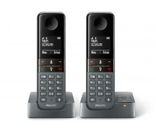 Philips D455 Duo D4552DG Schnurlos Telefon Set mit AB Dunkelgrau -