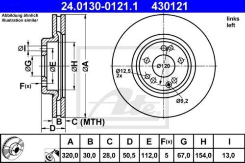 ATE Bremsscheibe Bremsscheiben Bremsen Vorne links 24.0130-0121.1