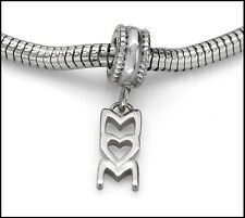 Stainless Steel Mom Charm Dangle Heart Bead Fits European Charm Bracelets SSMC1
