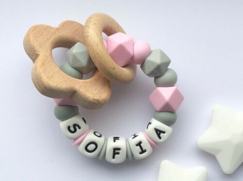 Teething Rattle Chew Toy Personalised Baby Personalised Silicone Ring