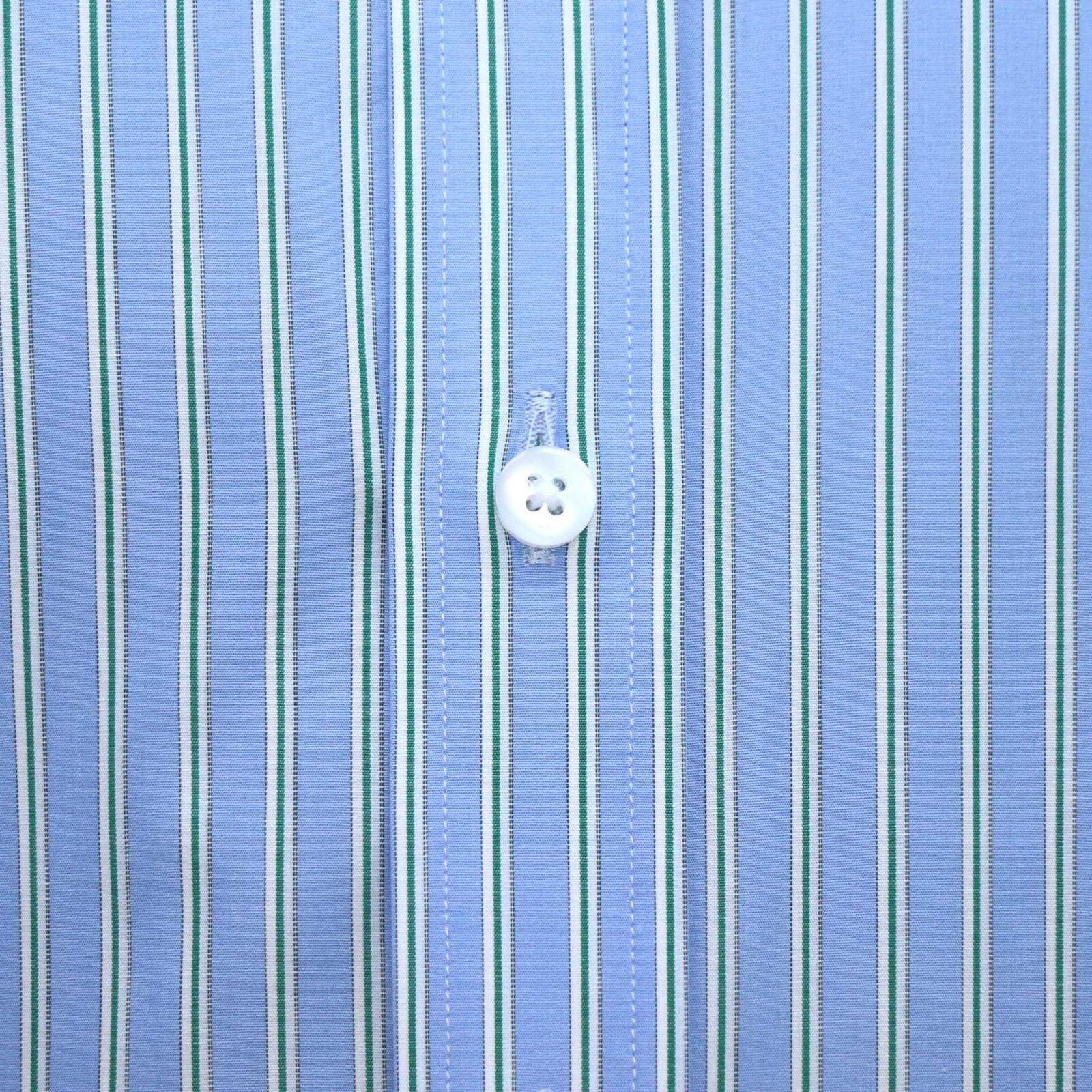 PENNY Da Uomo Colletto della Camicia Pallido Blinder Blinder Blinder Lite Blu a Strisce Verdi Grandad ROUND Club 1b9f83