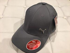 Puma-Medium-Gray-Evercat-Alloy-Stretch-Fit-Cap-Hat-Curved-Bill-Sz-Small-Medium