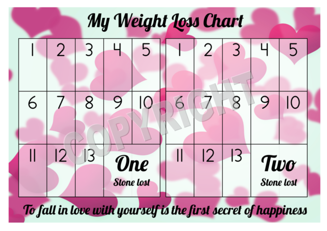 A4 Weight Loss Chart 2 Stone 1 Sheet Of Stickers Hearts Design