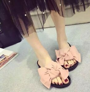 dfc434b344774 Oversized Bow Jersey Slide Sandals Denim Velvet Black Red Green Pink ...
