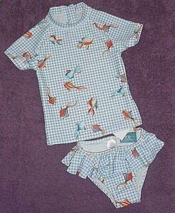 NEXT Babys Girls Blue Floral 2-Piece Sun Protection Swim Suit BNWT