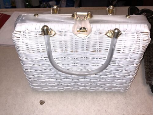 1950s Vintage White Lucite and wicker Purse in Bea