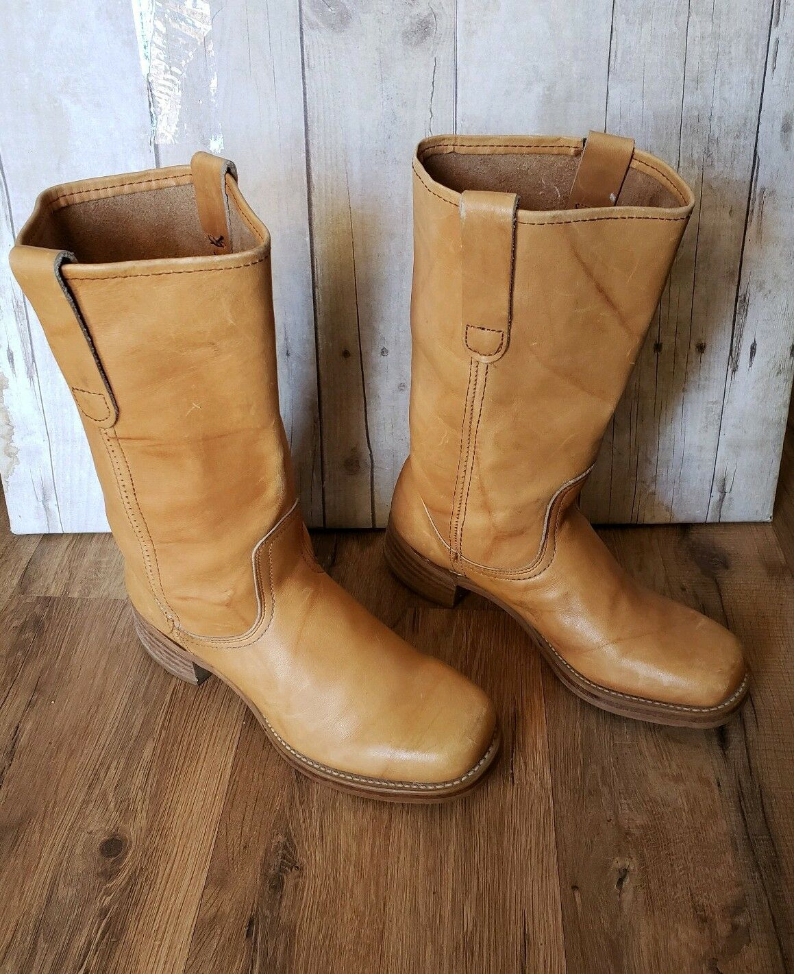 Sears VTG  Tan Leather Square  St Toe Motorcycle Western Boots 87411 Size 7.5 D