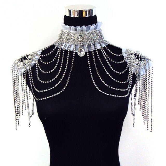 Black or White Crystal Rhinestone Choker w/Shoulder Swags Burlesque Costume