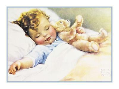 Bessie Pease Gutmann's Sweet Dreams with Teddy Bear Counted Cross Stitch Pattern