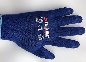12 Pair Heavy Duty Diesel Blue Safety Gloves Latex Coated Grip