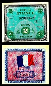 FRANCE-2-Francs-1944-Allied-Military-Currency-AMC-WW2-Pick-114a-aUNC